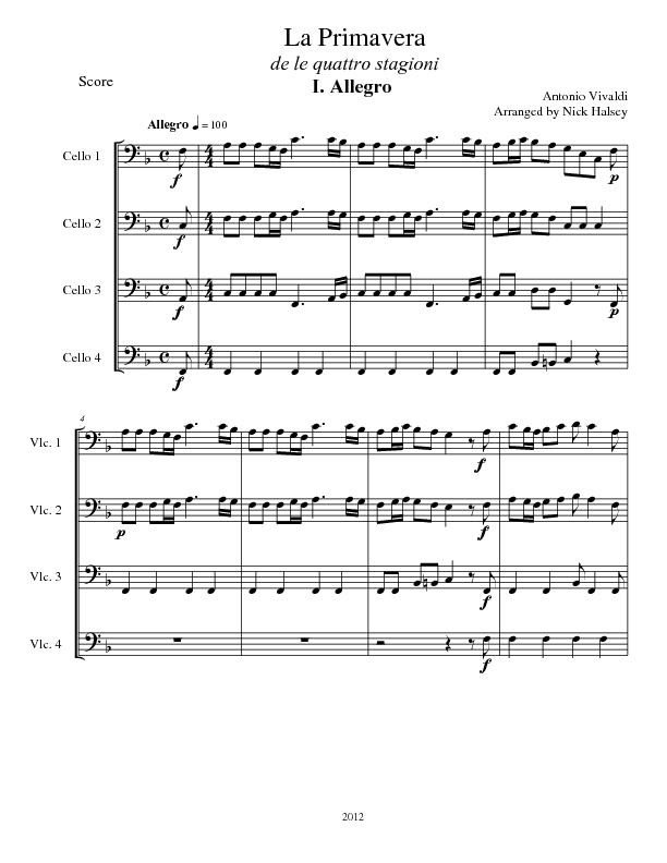 Spring From The Four Seasons Cello Expressions Sheet