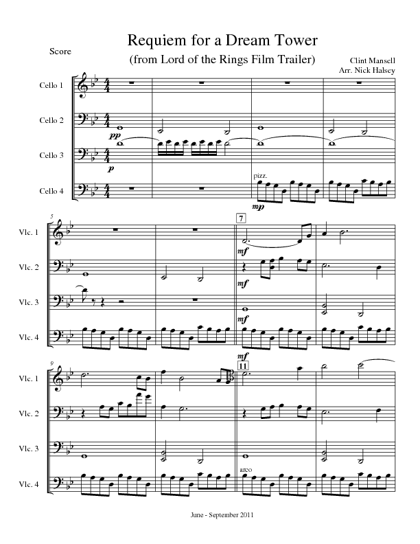 Requiem for a Dream Tower | Cello Expressions Sheet Music Library