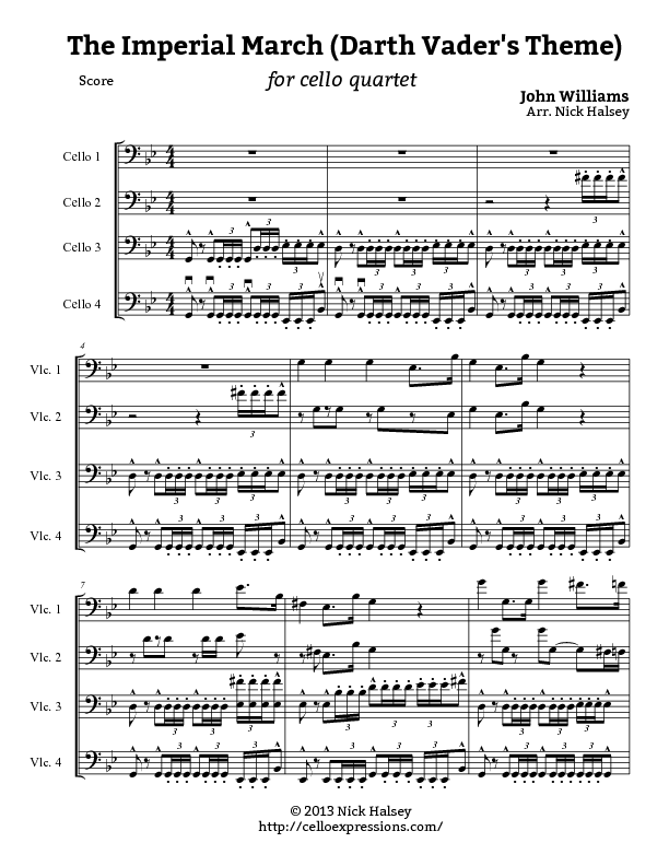 Imperial March (Darth Vaderu2019s Theme) u2013 Cello Expressions Sheet Music Library