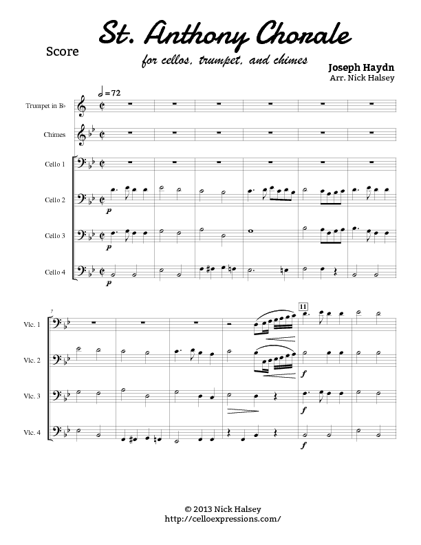 St  Anthony Chorale – Cello Expressions Sheet Music Library