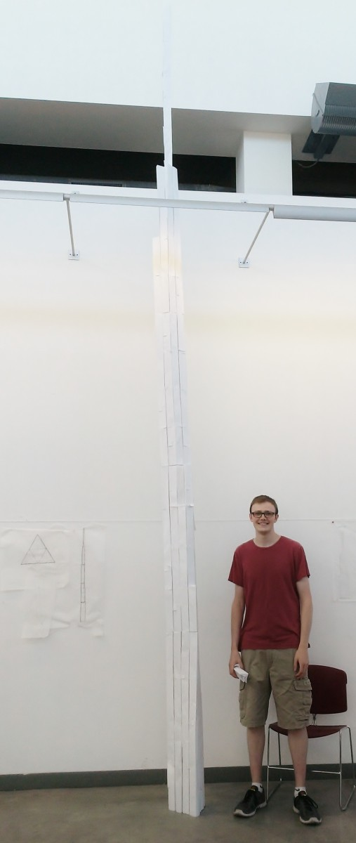 17 foot tall paper tower, with