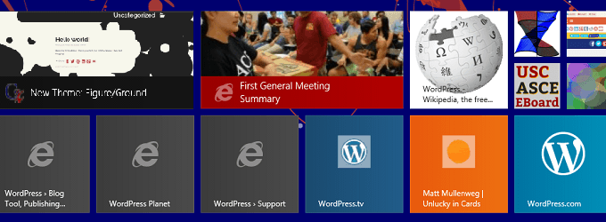 Windows 8.1 start screen with custom pinned live tiles