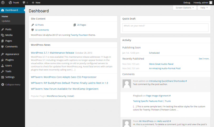 WordPress 3.8 Dashboard Re-design