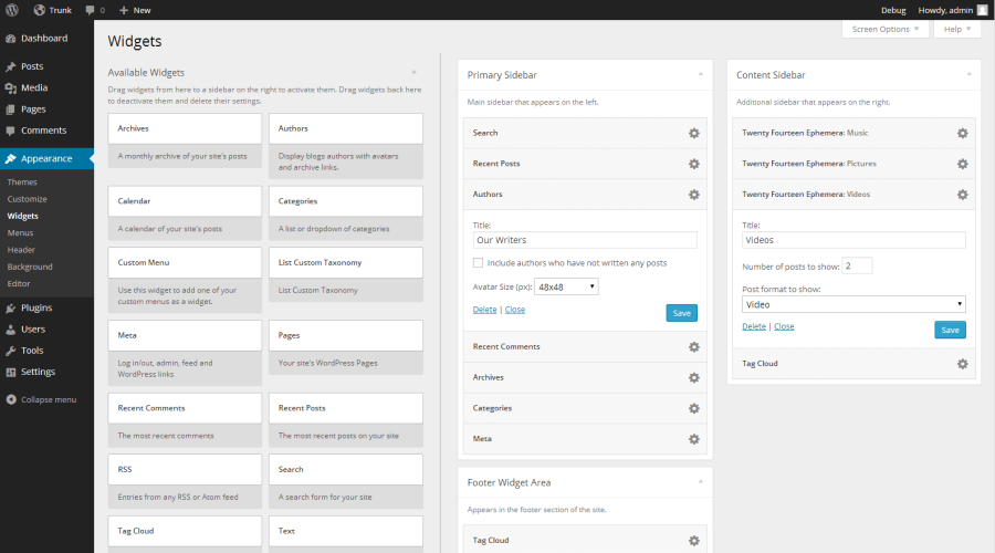 WordPress 3.8's Re-designed Widgets Screen