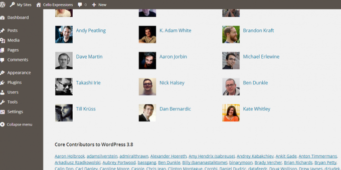 WordPress 3.8 Credits Screenshot