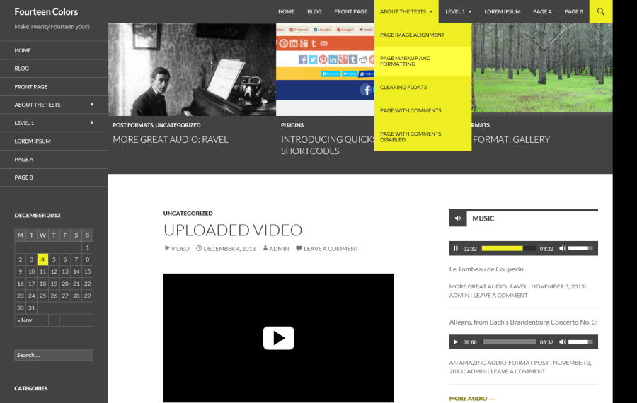 A screenshot of the Twenty Fourteen theme, with a gray contrast color and a yellow accent color applied