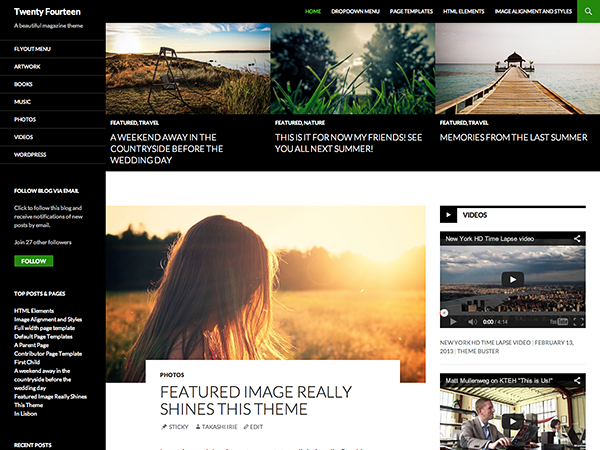 Screenshot of the Twenty Fourteen WordPress theme, taken from the demo site on WordPress.com