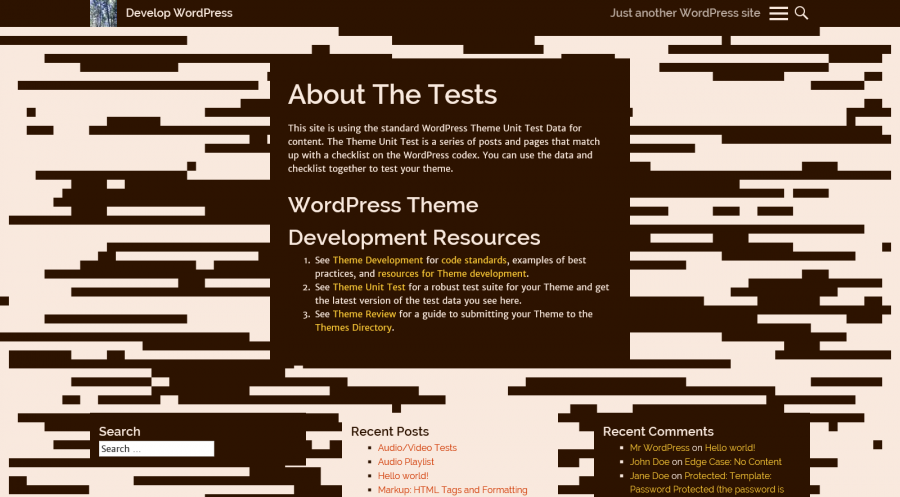 Static page view with a brown color scheme and striped settings for the animation.