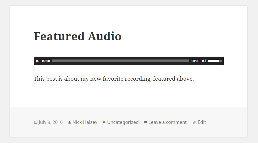 Screenshot of featured audio for the twent fifteen theme