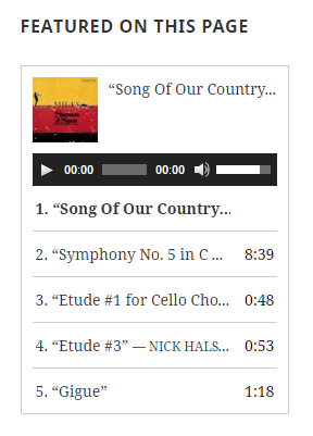 "Screenshot of a featured audio playlist entitled ""featured on this page"""
