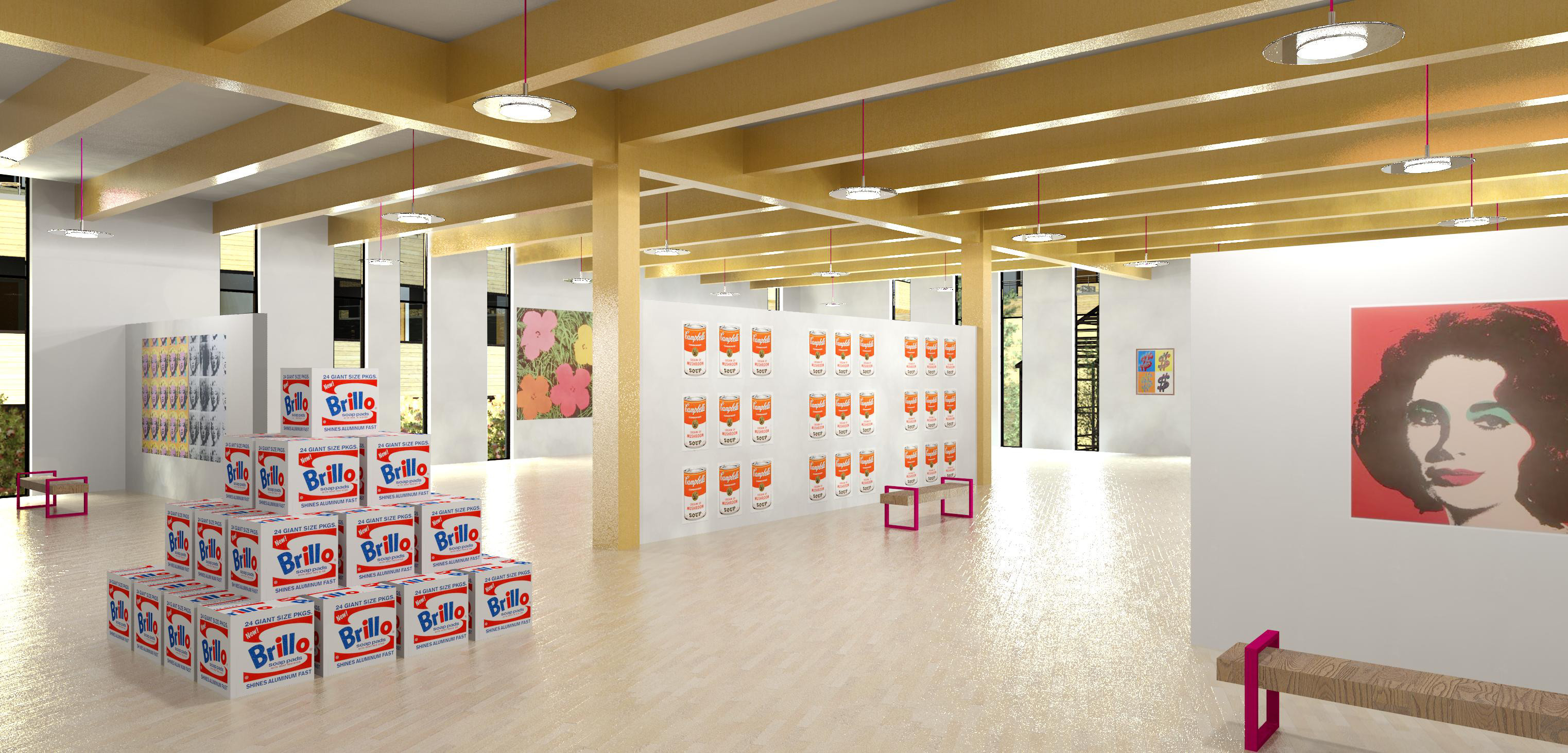 Architectural remdering of an interior space with exposed wood beams, wood flooring, and partial height walls depicting artwork by Andy Warhol