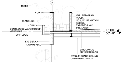 Architectural detail showing a building facade cross section