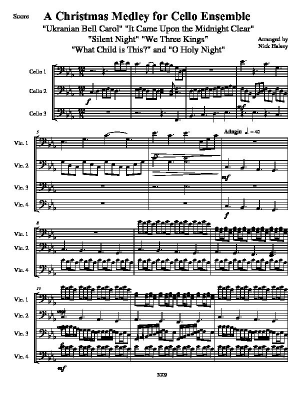 Piano o holy night advanced piano sheet music : A Christmas Medley – Cello Expressions Sheet Music Library