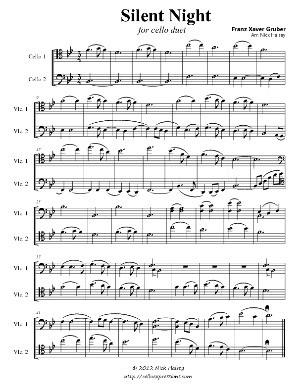 Silent Night (Duet) – Cello Expressions Sheet Music Library