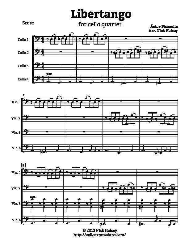 Piano piano trio sheet music : Libertango (Quartet) – Cello Expressions Sheet Music Library