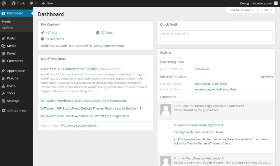 WordPress 3.8 Dashboard Re-design