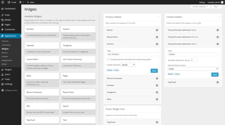 WordPress 3.8's Re-designed Widgets Screen