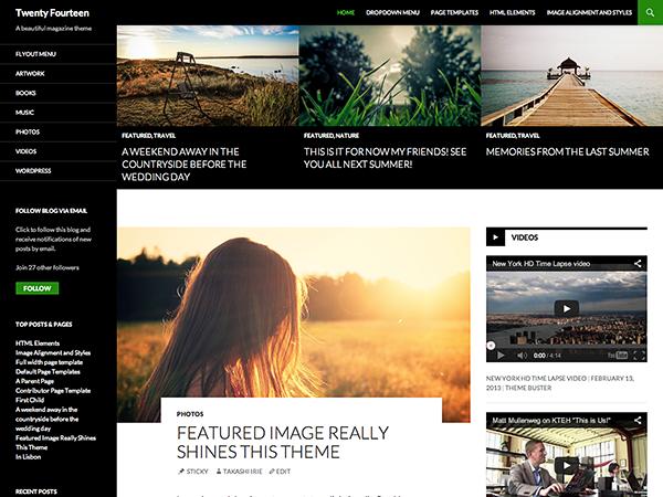 Screenshot of the Twenty Fourteen WordPress theme, taken from the demo site on WordPress.com