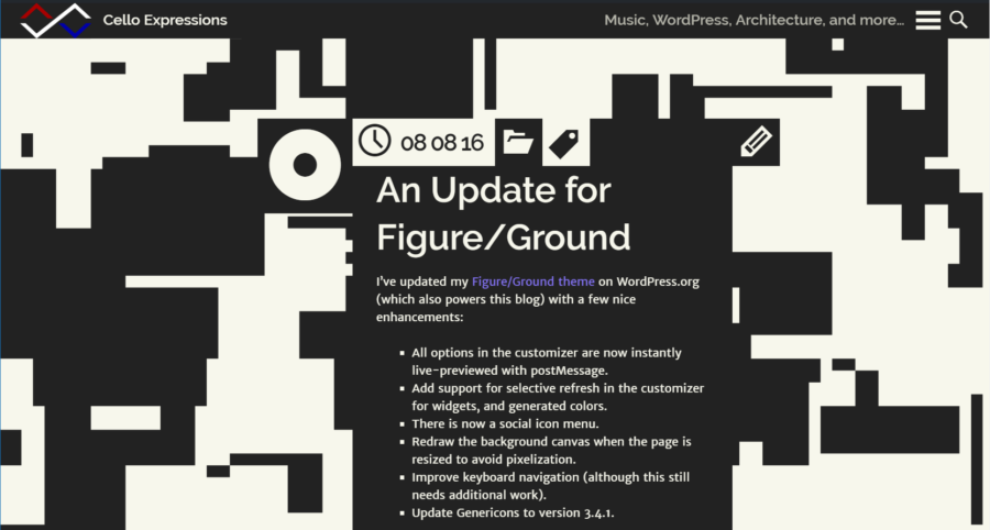 Screenshot of version 1.2 of the Figure/Ground WordPress Theme