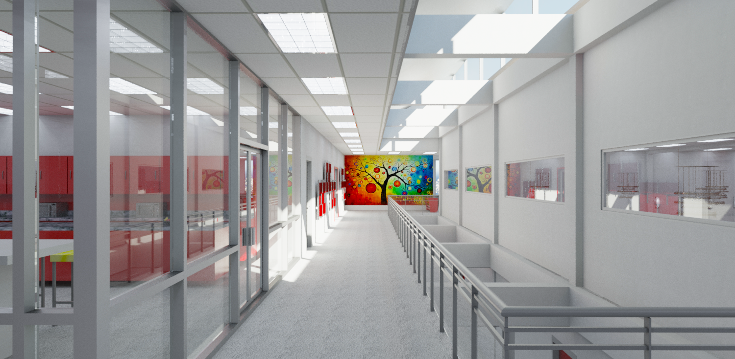 Realistic architectural rendering of a modern corridor with artwork and a skylight
