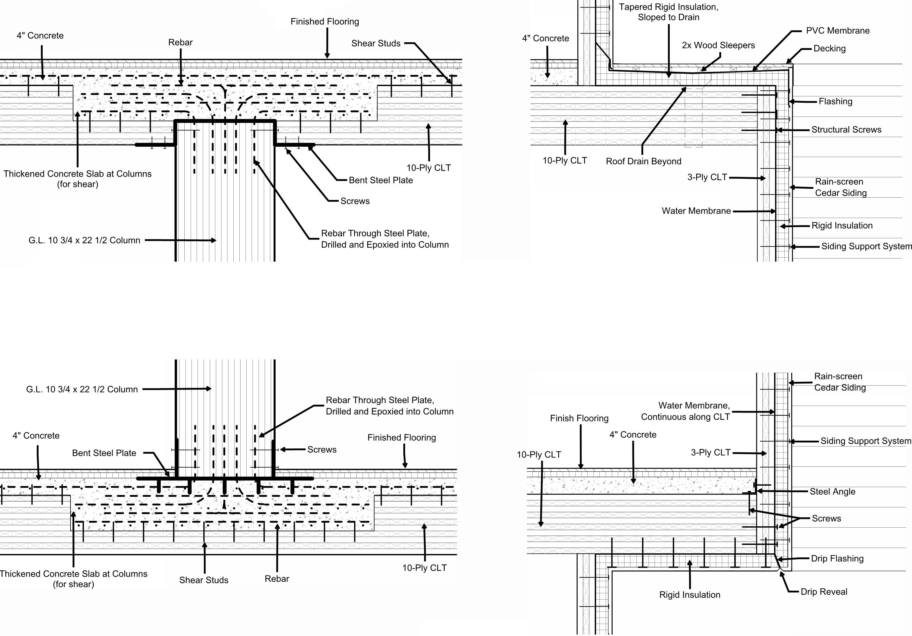 Architectural.assembly details shkwing the structure and exterior facade for a mass timber building