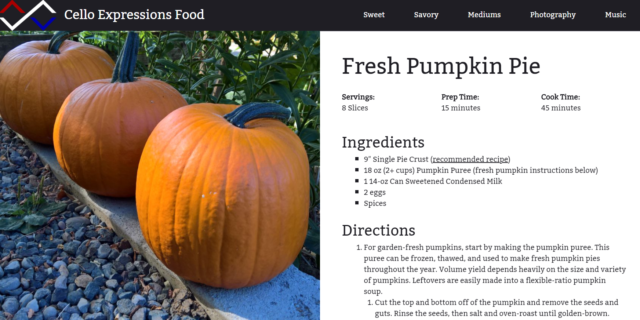 "Screenshot of the Cello Expressions food website showing a recipe for ""Fresh Pumpkin Pie."""